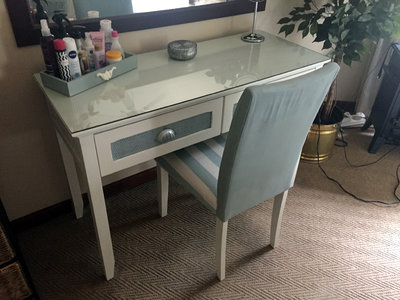 Makeover of dressing table & chair, re-upholstered & Painted to client requirements